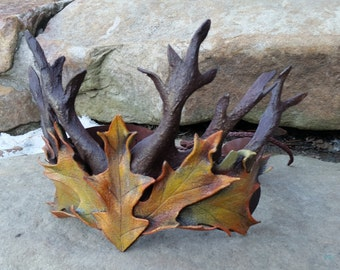 Leather Twig Crown in Autumn