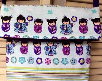 Asian Kimono Messenger Fold Over Shoulder Bag