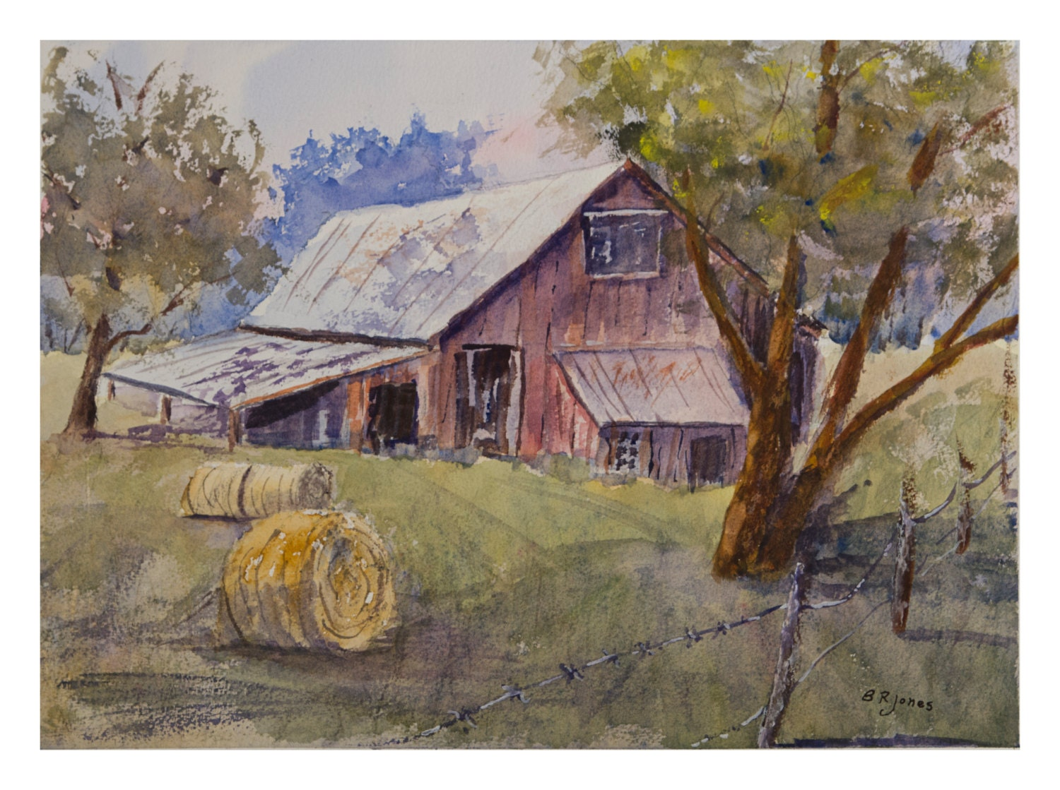 Water valley barn 16x12 inch original watercolor painting for Watercolor barn paintings