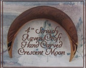 "Siriusly RavensCroft 4"" Trilaminated Hand Carved Crescent Moon Hair Fork"