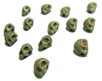 8mm skull beads in Mocha color skulls 15pcs