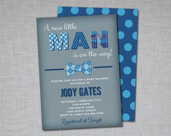 Boy Baby Shower Invitation - Navy Blue Gray - Bow Tie Polkadot - Printable - Little Man