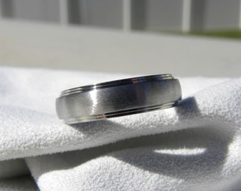 Titanium Ring or Wedding Band, Double Stepped Edges
