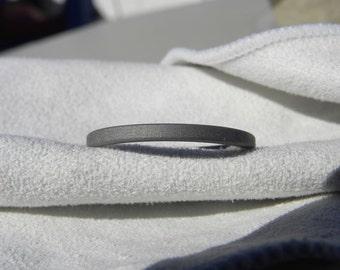 Titanium Ring, Narrow Profile Flat Band, Sandblasted Finish