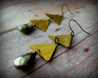 PYRITE ANGLE - Pyrite Gemstones wire wrapped on two small raw brass triangles on natural brass ear wires Boho Style