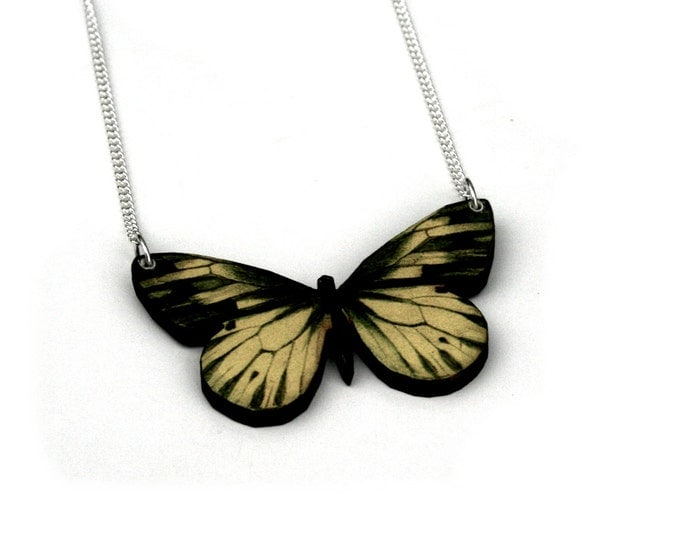 Yellow and Green Butterfly Necklace, Wooden Butterfly, Illustration Pendant, Animal Necklace, Wood Jewelry