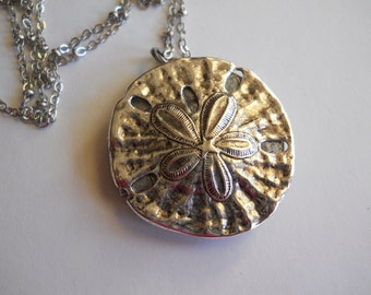 Large Sand Dollar Locket on Long Silver Chain San Dollar Charm Necklace Sea Ocean Beach Jewelry Summer Vacation Memories Keepsake Gift