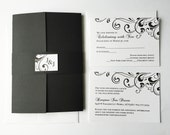 Wedding Invitation, Modern, Unique wedding invitations, Elegant, Black Wedding Invite, bat mitzvah, Flourish, gatefold - Deposit to Start