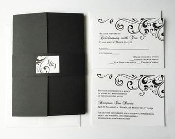 Formal White Black Wedding Invitation, modern black tie Unique luxury wedding invitations, Elegant Wedding Invitation, bat mitzvah invite