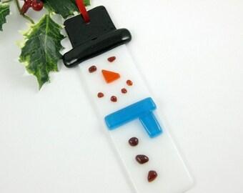 Glass Snowman Christmas Ornament with a Blue Scarf - Handmade Glass Ornament