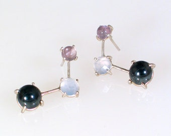 Earrings with Amathyst, Chalcedoney and Hematite