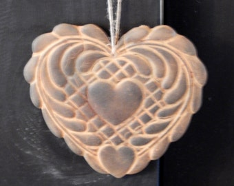 Primitive Blackened Beeswax Heart Valentine