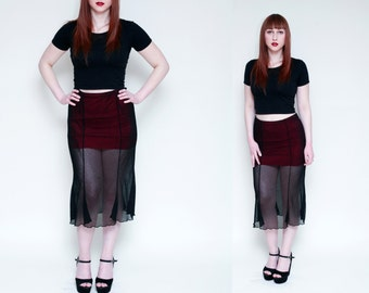 Goth 90s Sheer Mini Skirt // Black Sheer Overlay Skirt // 90s High Waist WITCHY Midi Skirt - Size M L