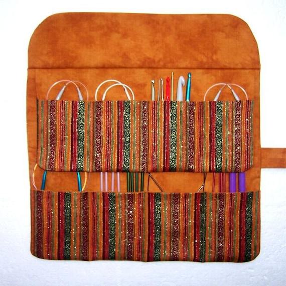 Circular Knitting Needle Storage : Striped circular knitting needle holder metallic by abellawear