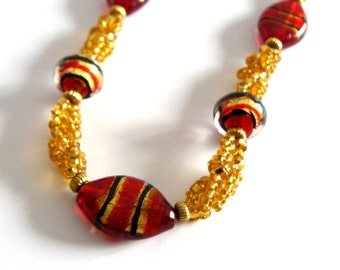 Gold and Red Beaded Necklace, Gold Spiral Beadwoven Jewelry, Red and Black Stripe Bead Necklace, Beadwork Jewelry, Gift for Her