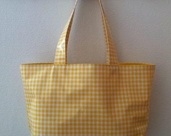 Beth's Large Yellow Gingham Oilcloth Market Tote Bag