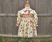 Toddler smocked, Christmas dress, size 24Mo, long sleeves, Ready to ship, ivory, red and green, OOAK, holiday, girls, baby girl