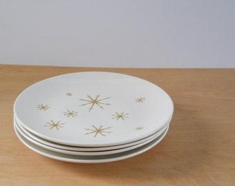 Vintage Star Glow Royal Ironstone Dinner Plates • Set of 4 Mid Century Plates • Atomic Dinner Plates