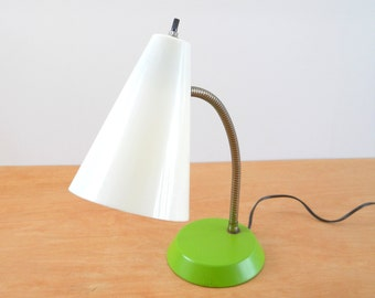 Gooseneck Desk Lamp • 1970's Vintage Lamp • Green and White