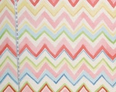 Pink chevron fabric pink stripe fabric watercolor fabric circus fabric abstract cottage decor home decorating fabric FREE SHIPPING  1 yd