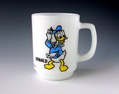 RESERVED FOR DW... Donald Duck Milk Glass Mug . Pepsi Collector Series . White Glass . Mickey Mouse Club . Anchor Hocking .