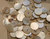 """Mother of pearl MOP vintage GOLDEN buttons metal shank 11/16""""  antique 12 pieces"""