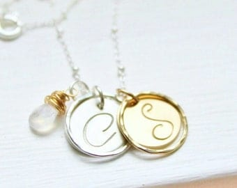 Hand Stamped Necklace . Personalized Necklace . Two Initials Necklace with Eterinty Rings, Personalized Initials Necklace