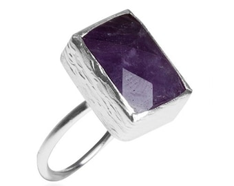 Rectangle Amethyst Silver Ring