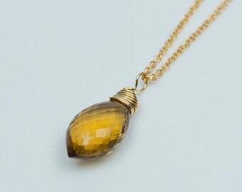 Honey Quartz Necklace, Simple Gemstone Drop Necklace, Handmade Gifts
