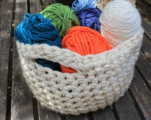 Fold Flat Crocheted Storage Basket With Handles - Storage Bin, Easy Storage, Yarn Basket, Toy Basket, Towel Basket, Craft Basket
