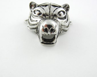 Antique Silver-tone Double Link Tiger Head Pendant
