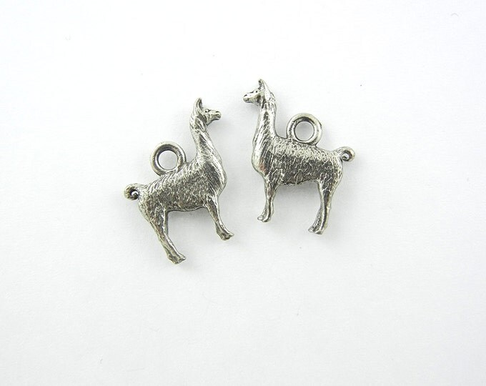 Pair of Pewter Llama Charms Animal Jewelry Supplies