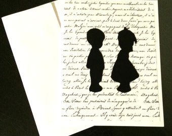 Wedding Anytime Card Young Children Toddler Silhouettes Valentines Blank Inside Handmade OOAK
