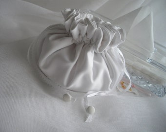 Romantic Downton Abbey Inspired Bridal Money Bag White Satin Drawstring Wedding Purse Lined Handmade by handcraftusa