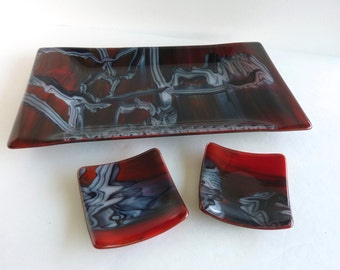 Fused Glass Sushi Platter and Dishes in Tomato Red, White and Black