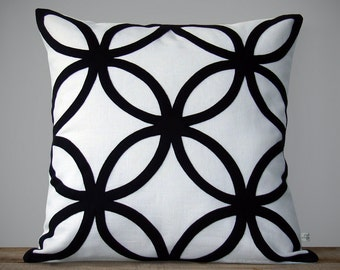 Modern Black and White Geometric PILLOW COVER (20x20) by JillianReneDecor | Designer Home Decor | Minimal | Mid Century Inspired
