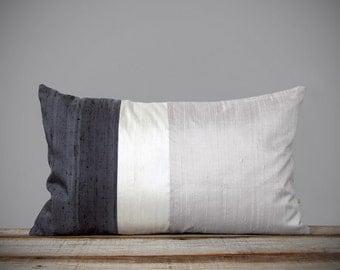 Gradient Silk Color Block Pillow in Silver, White + Gray by JillianReneDecor (12x20) Modern Home Decor | Minimal | Monochromatic | Holiday