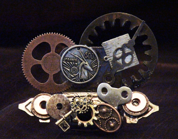 Steampunk industrial business card holders by auntbrendac for Steampunk business card holder