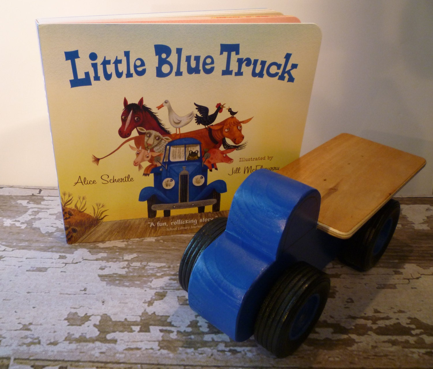 Toy Blue Flatbed Truck And Little Blue Truck Book