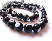 8mm Black Round Glass Evil Eye Beads-10 pieces in a bag