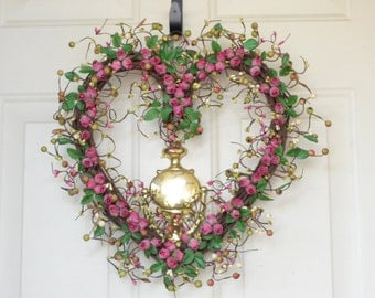 Pink Heart Shaped Wreath - Pink rosebuds  - Valentines Day