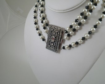 Statement Harlequin Black and White Pearl and Crystal Choker and Earring Set