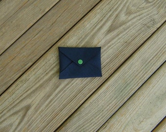 Navy Blue Cordura Business Card Holder with Green Snap