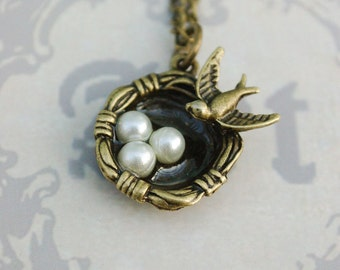 sparrow egg nest necklace