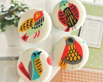 Fabric Buttons, Spring Colorful Bird Animal Covered Fabric Buttons, Bird Fridge Magnets, Flat Backs,1.25 Inches 4's