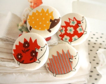 Handmade Large Kawaii Woodlands Hedgehog Animal Fabric Covered Buttons, Hedgehog Fridge Magnets, Flat Backs,1.25 Inches 4's