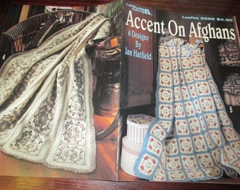 Afghan Crochet Patterns Accent on Afghans Leisure Arts 2662 Crocheting Pattern Leaflet Jan Hatfield