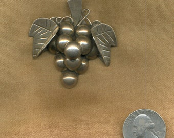 1940s Vintage Sterling Mexican Tasco Grape Pin Pendant