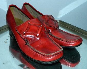vintage 1960s heels red Pilgrim Buckle loafers MOD shoes 9 N