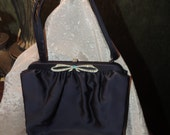 Vintage 1940's deep navy purse with diamante bow. Pristine